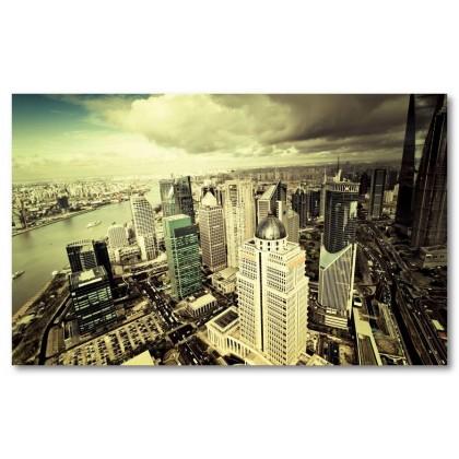 Αφίσα (κτίρια, ουρανοξύστες, υψηλός, πανοραμικός, μαύρο, λευκό, άσπρο)